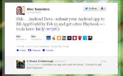 Develop and Submit your Android App to BB AppWorld, get a free Blackberry PlayBook