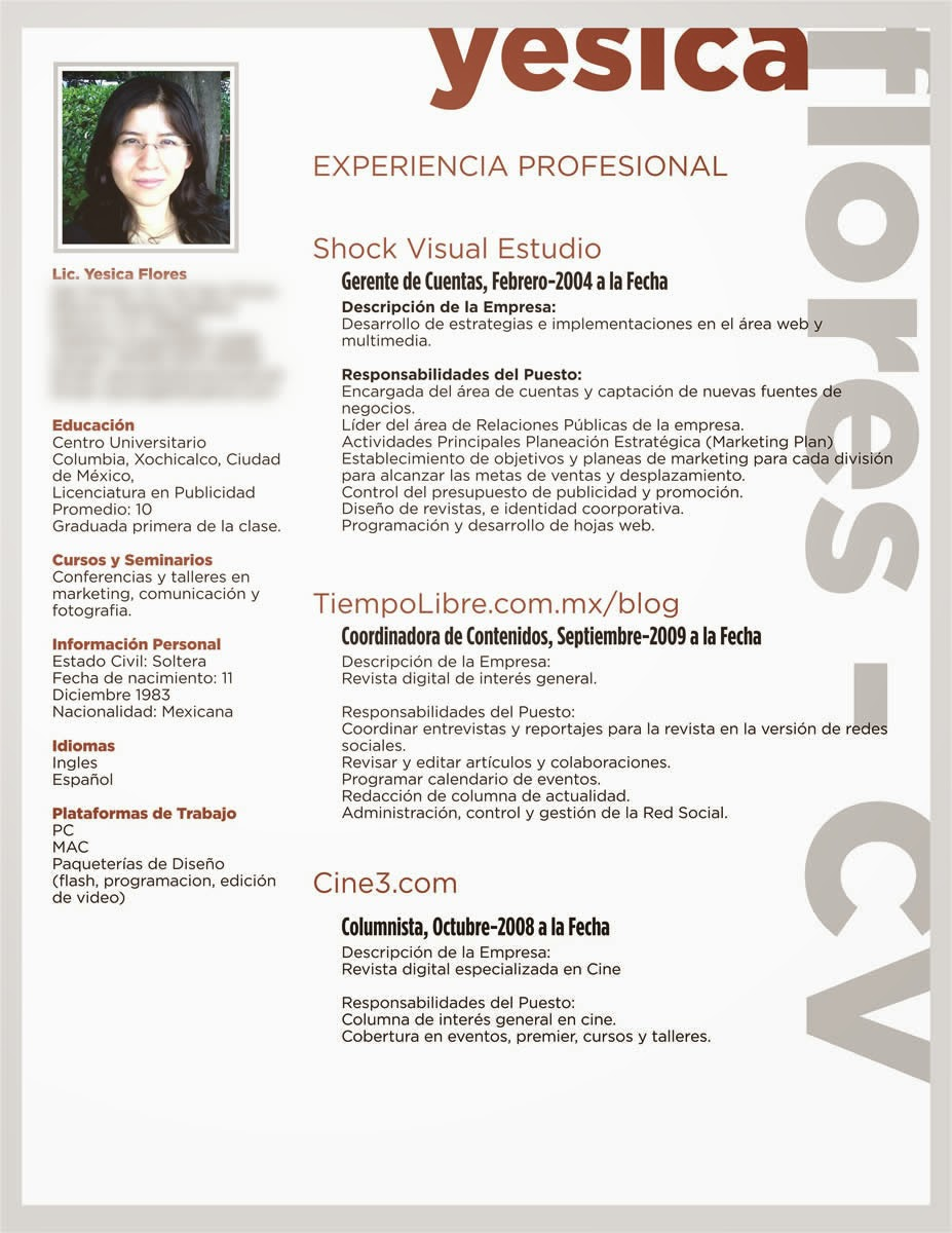 Modelo De Curriculum Vitae Y Hoja De Vida Instituto Victor Raul