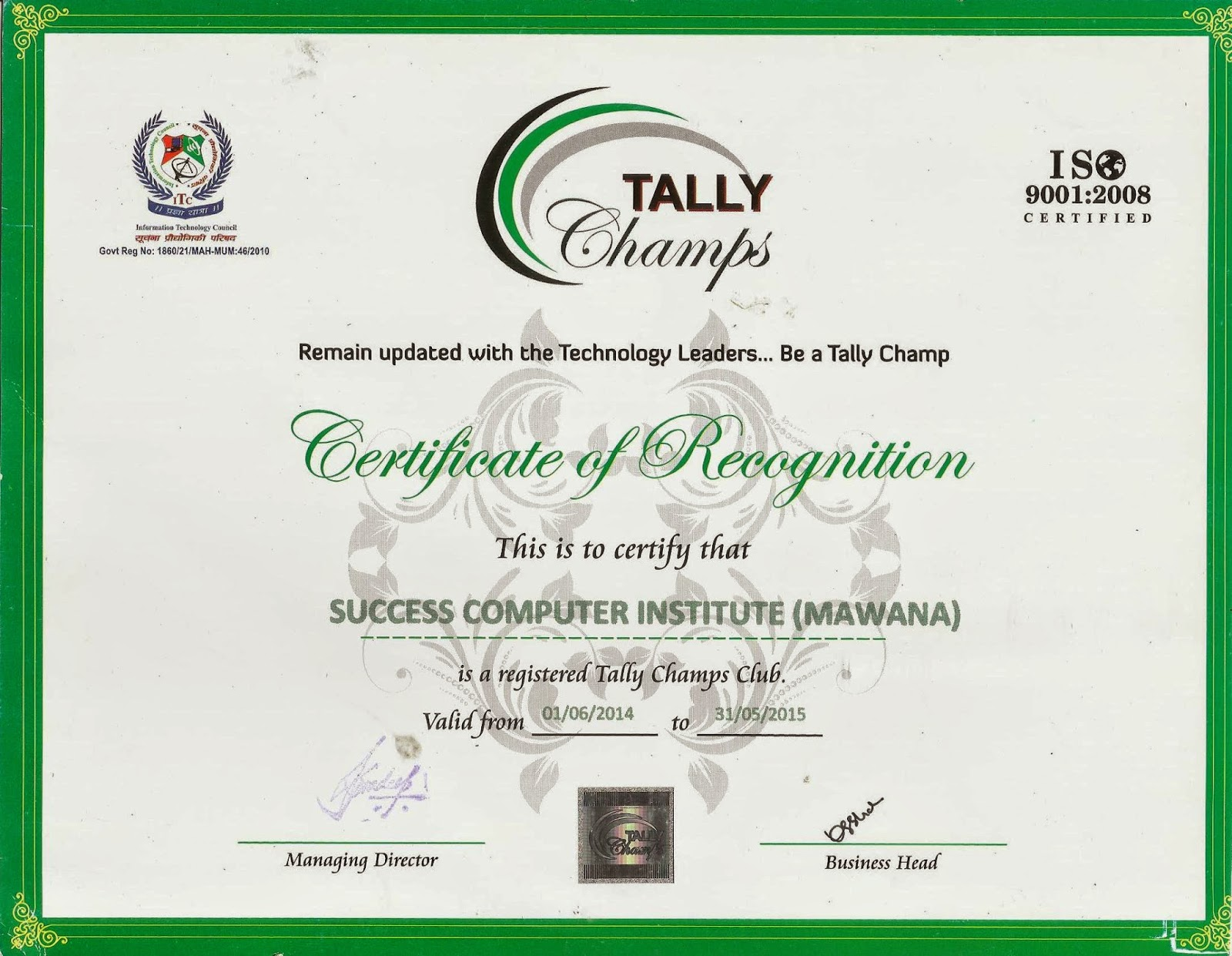 Success Computer Institute  Computer Certificate Format