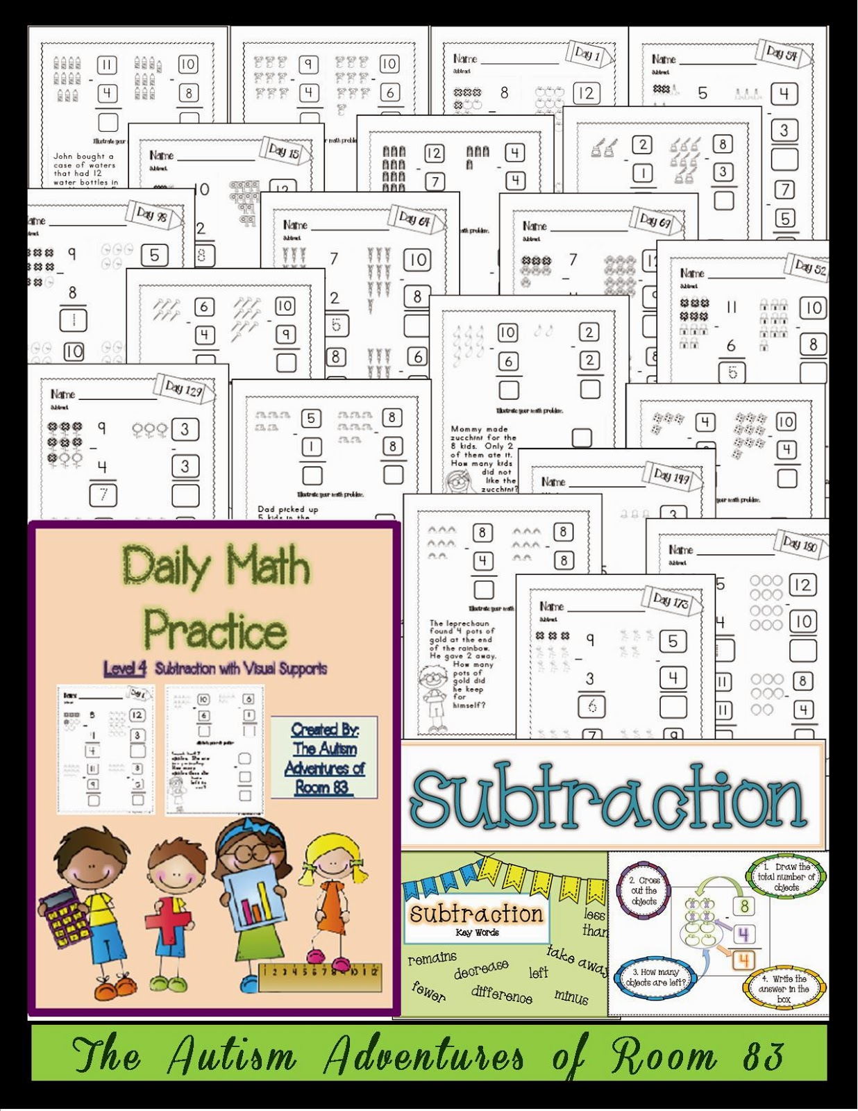 math worksheet : daily math practice level 4 subtraction with visuals  the  : Daily Math Practice Worksheets