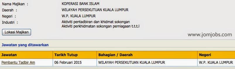 Jawatan Kosong Koperasi Bank Islam - Pembantu Tadbir Am