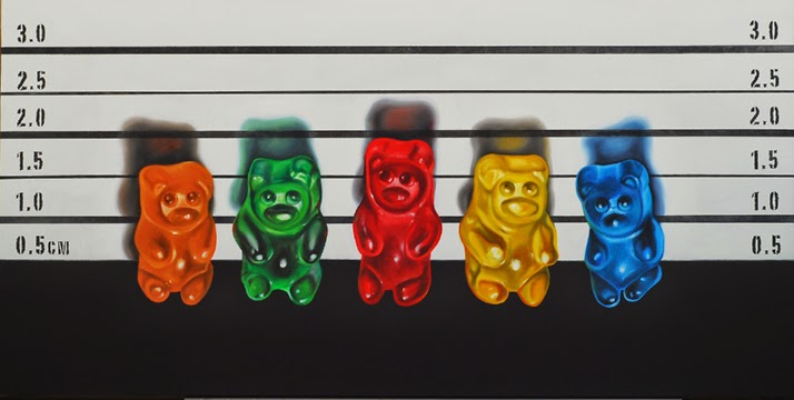 Gummy bear The usual Suspects, original oil painting, jeanne vadeboncoeur