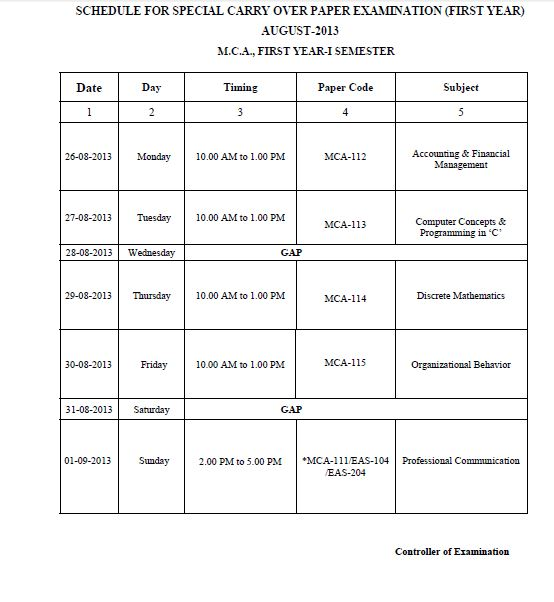 gbtu mca first year special carry over schedule uptunewsin