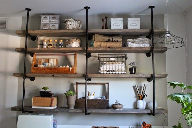 Galvanized pipe shelving :: OrganizingMadeFun.com