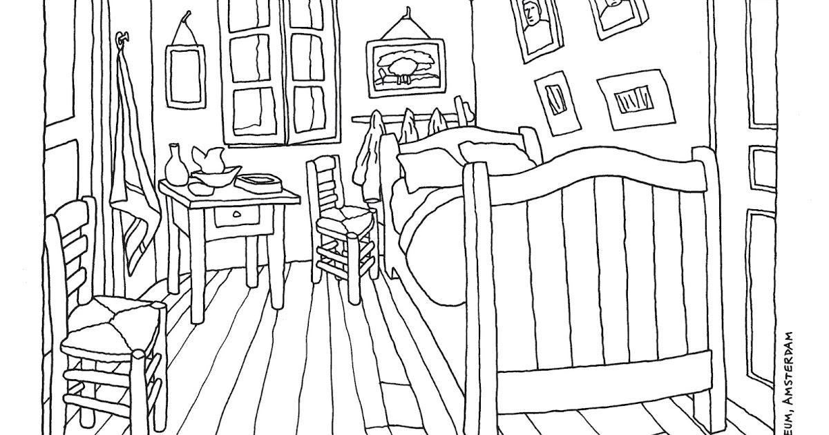 Peque os pinceles la habitaci n de van gogh para pintar for Dormitorio para dibujar facil