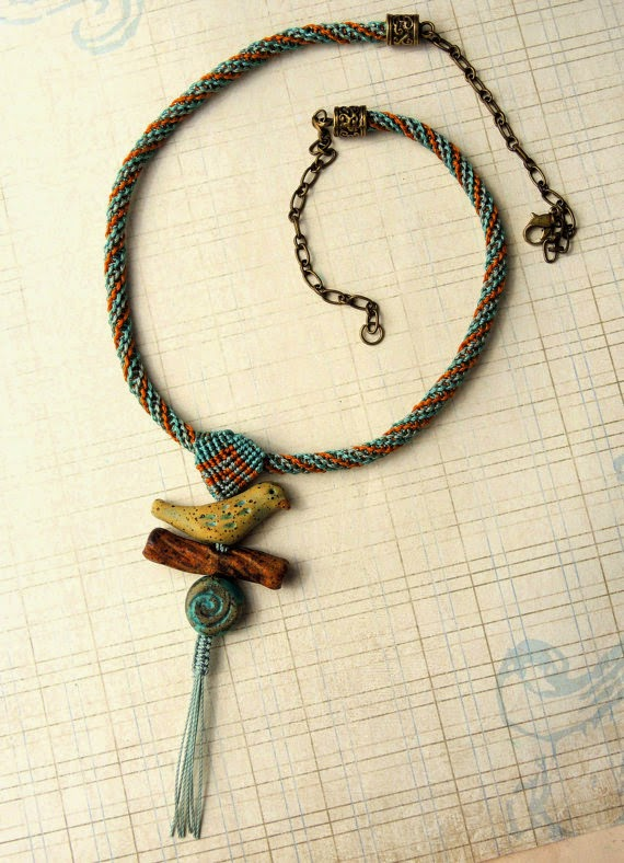 Micro Macrame necklace by Sherri Stokey of Knot Just Macrame.