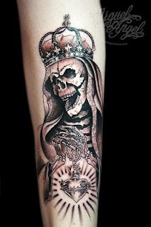 Death tattoo: Death wearing a royal crown