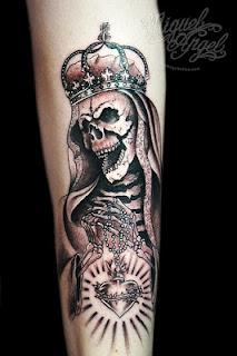 Death tattoo: Death wearing a royal crown