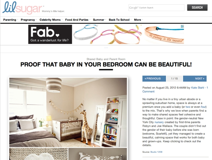 STUDIO 1208 feature on Lil Sugar for chic gender neutral nursery shoot