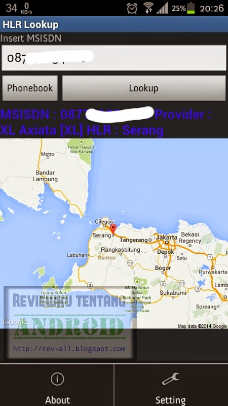 Contoh hasil pencarian aplikasi HLR lookup - untuk mengetahui daerah asal kartu (rev-all.blogspot.com)