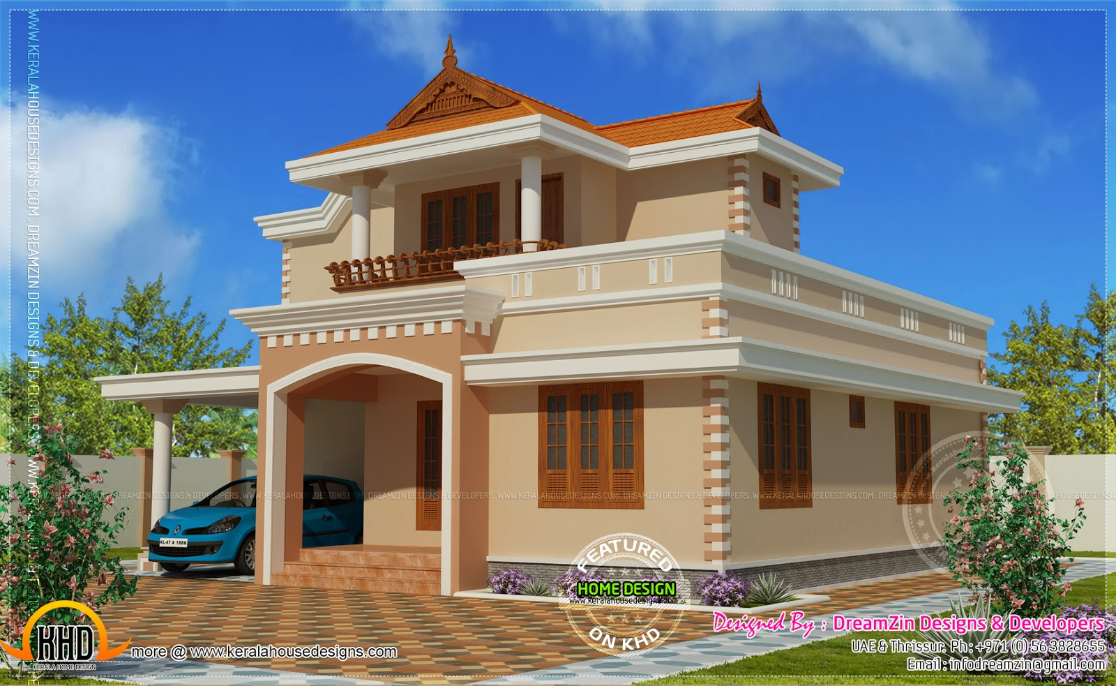 Simple double storied house elevation home kerala plans for Indian house portico models