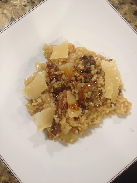 piedmont food: porcini risotto with balsamic and parmesan