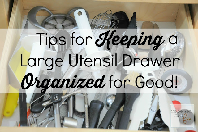 Tips for Keeping a Large Utensil Drawer Organized for Good :: OrganizingMadeFun.com