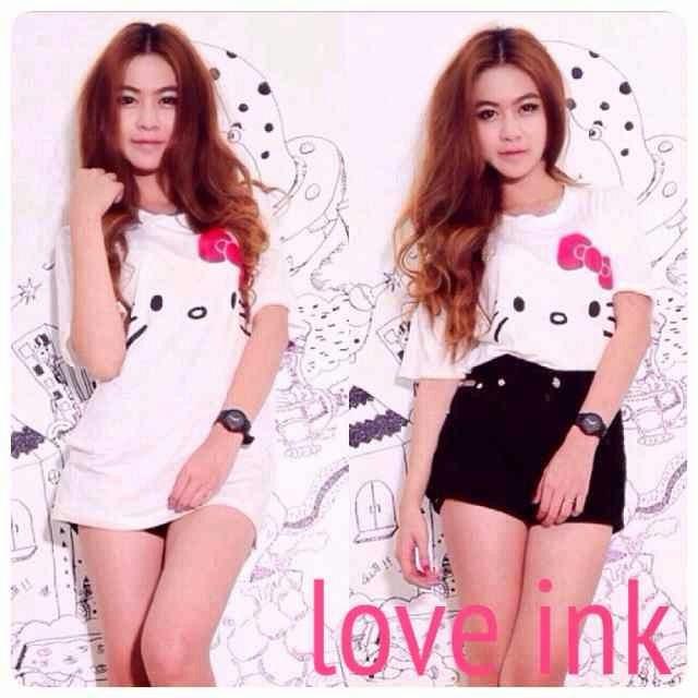 VBT Hello Kitty White - Kaos Big Size Love Ink - Harga Saudara