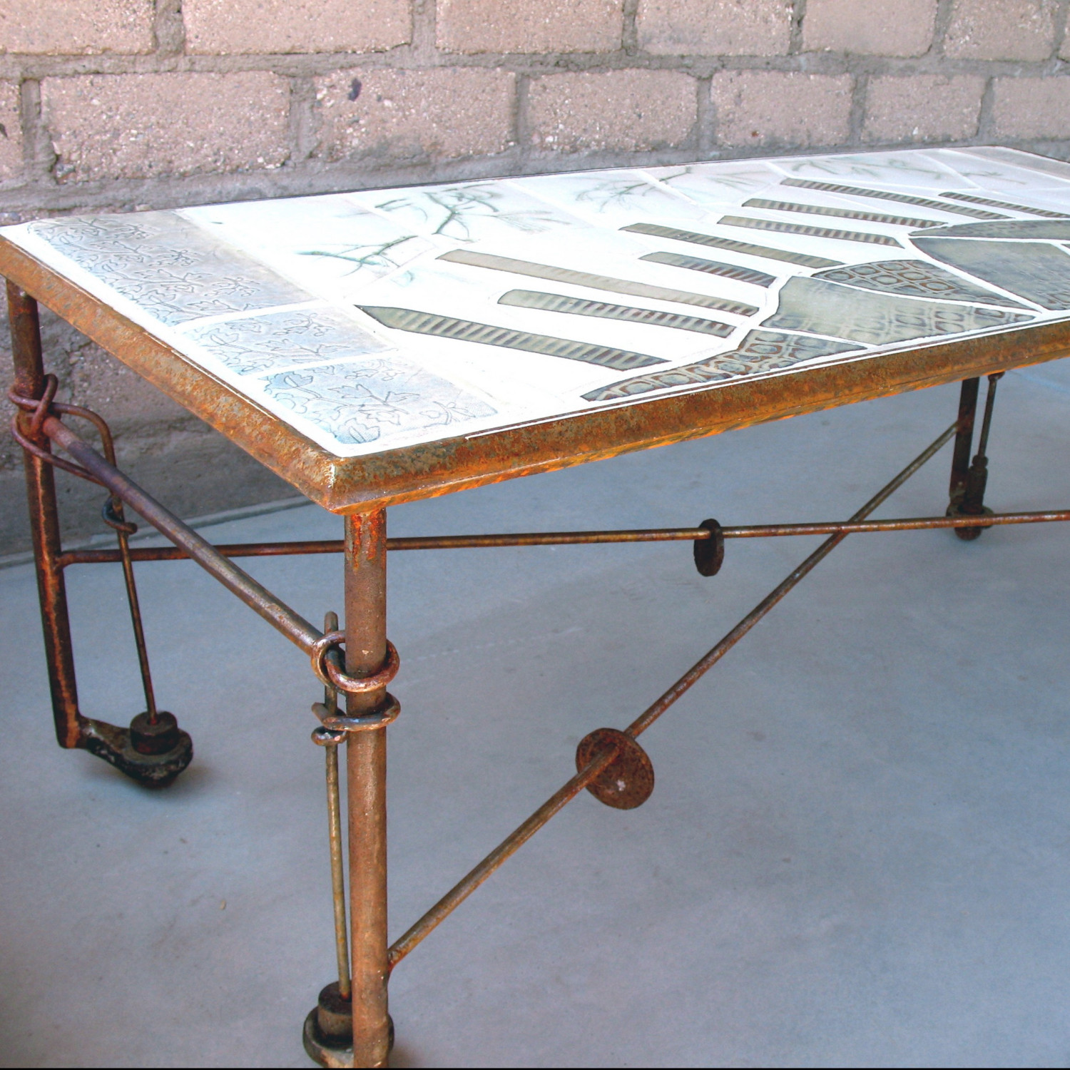 Neil Collins Artist Original Hand Made Ceramic Tile And Steel Coffee Table