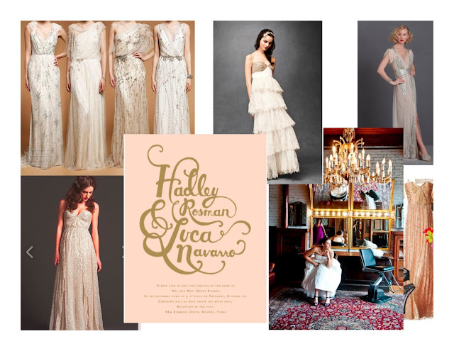 wedding mood board, Jenny Packham, bhldn, Rifle, Salvage One, Sarah Seven, Erin Fetherston