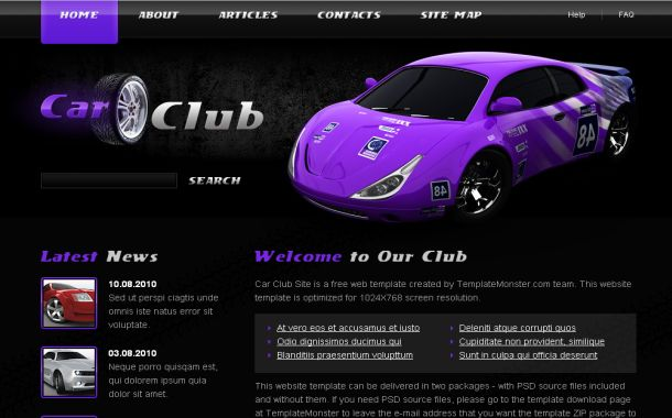 Free HTML White Violet Website Template