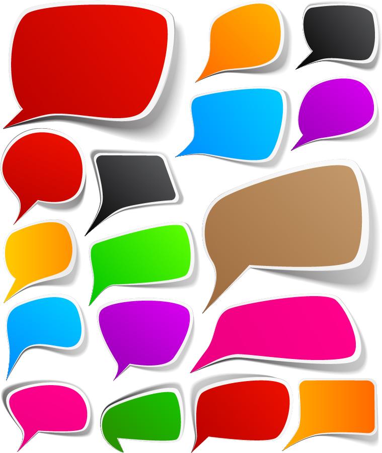 カラフルな白フチ影付きの吹出し colorful bubble dialog boxes イラスト素材