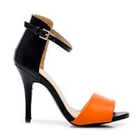 Sandale elegante, cu toc inalt, bicolore, negru cu portocaliu. ( )