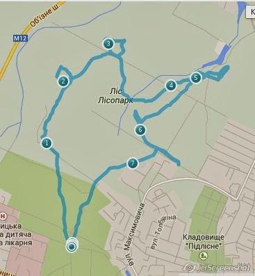 Дистанция на спутниковой карте тренировки по Охоте на Лис (ardf, радиопеленгация) в Виннице.