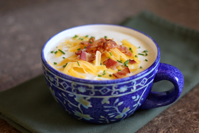 Baked Potato Soup recipe by Barefeet In The Kitchen
