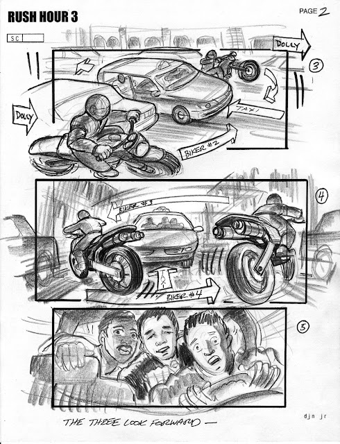 Storyboard - Rush Hour 3 - Taxi scene