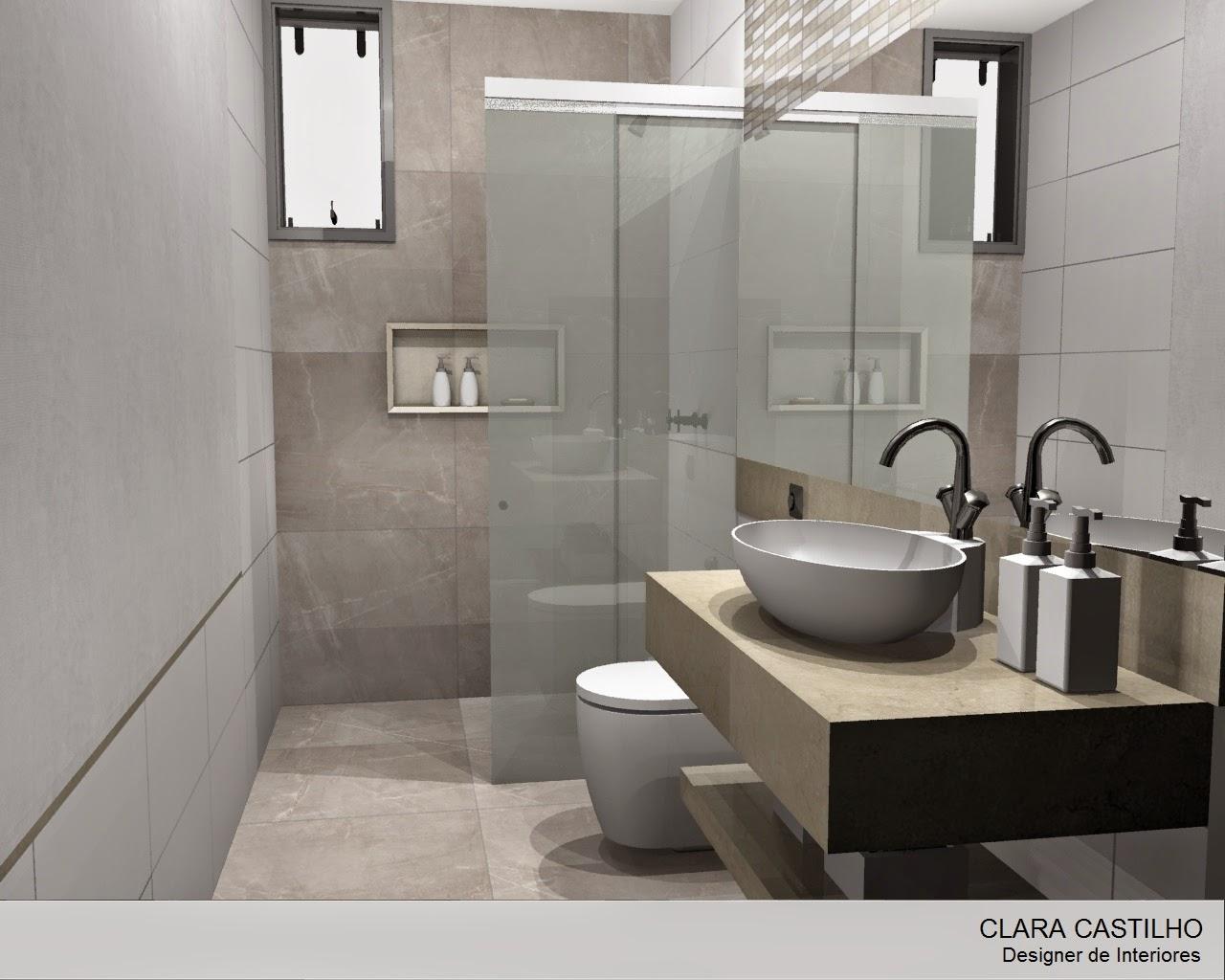 Clara Castilho BANHEIRO REPAGINADO -> Decoracao De Banheiro Na Cor Cinza