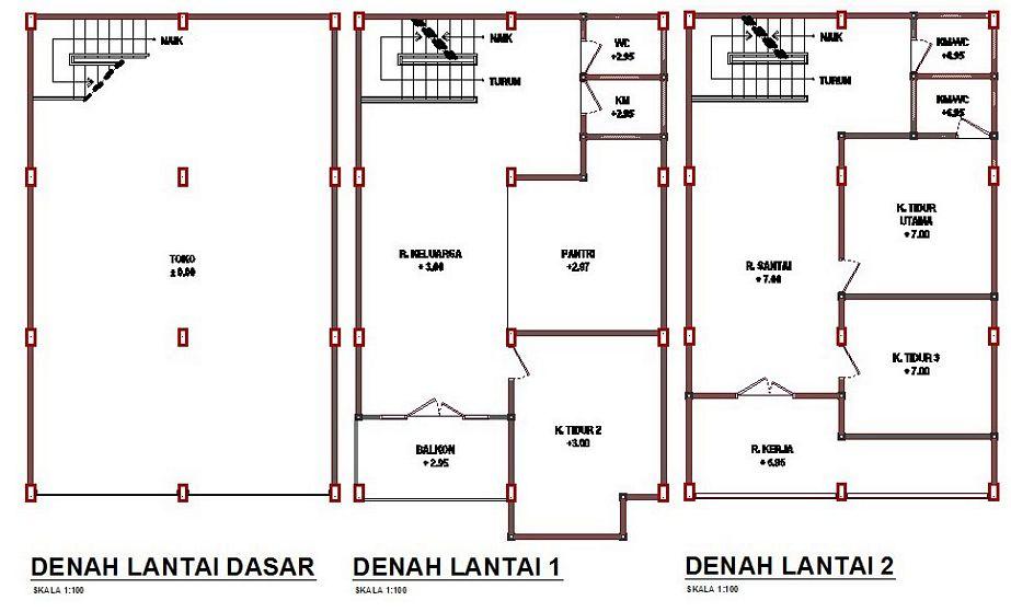 model denah rumah 3 lantai kreatif