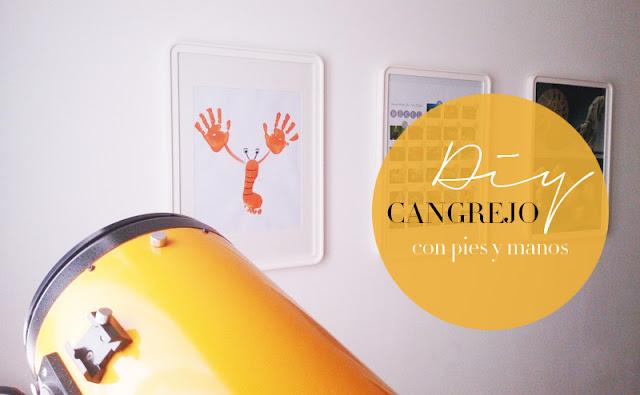 Manualidad Decorar en familia_ Lámina cangrejo pintada con pies y manos1