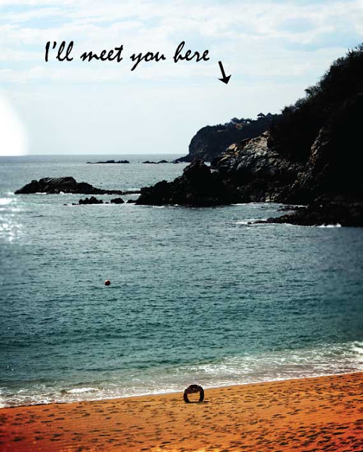 i'll meet you here poster with ocean and beach