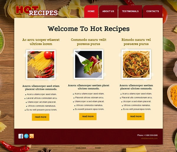Hot Recipes - Free Drupal Theme