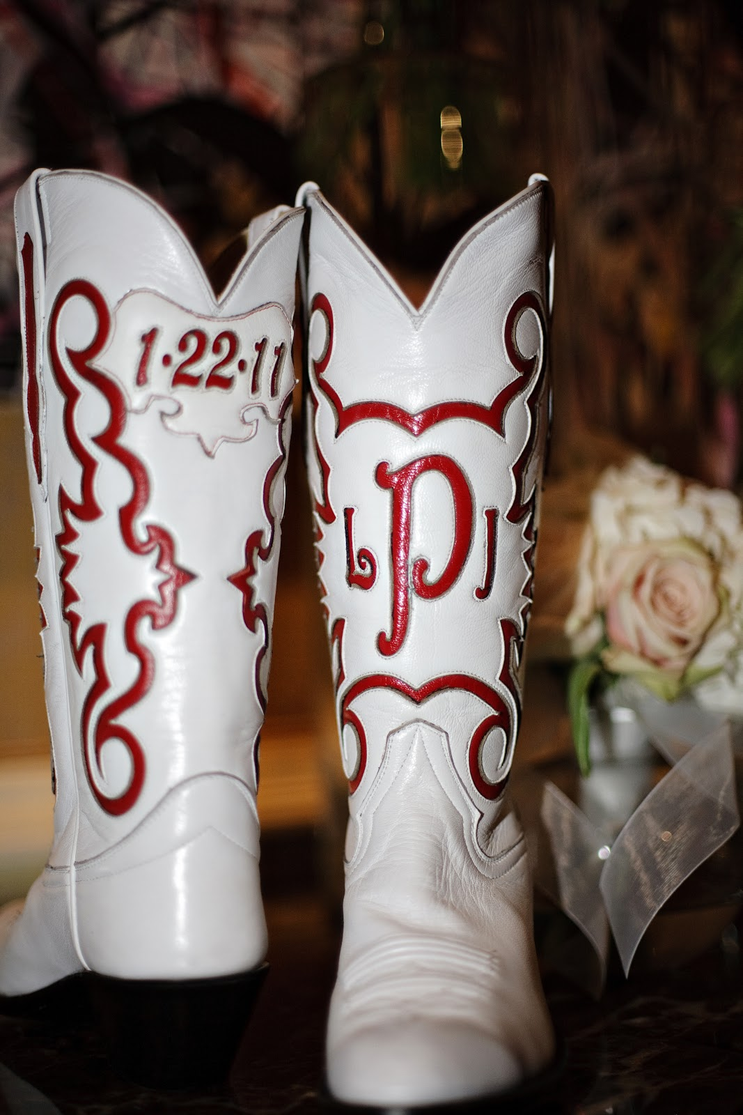 trend alert cowboy boots wedding cowboy boots Stunning custom wedding day boots featuring bride s new monogram and her wedding date photo by www vimstudio com