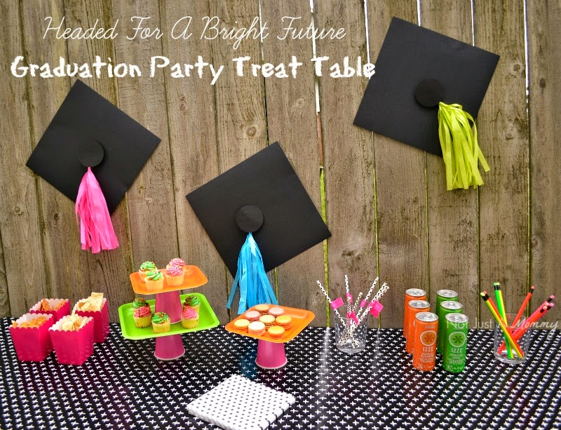 Headed For A Bright Future neon graduation party treat table