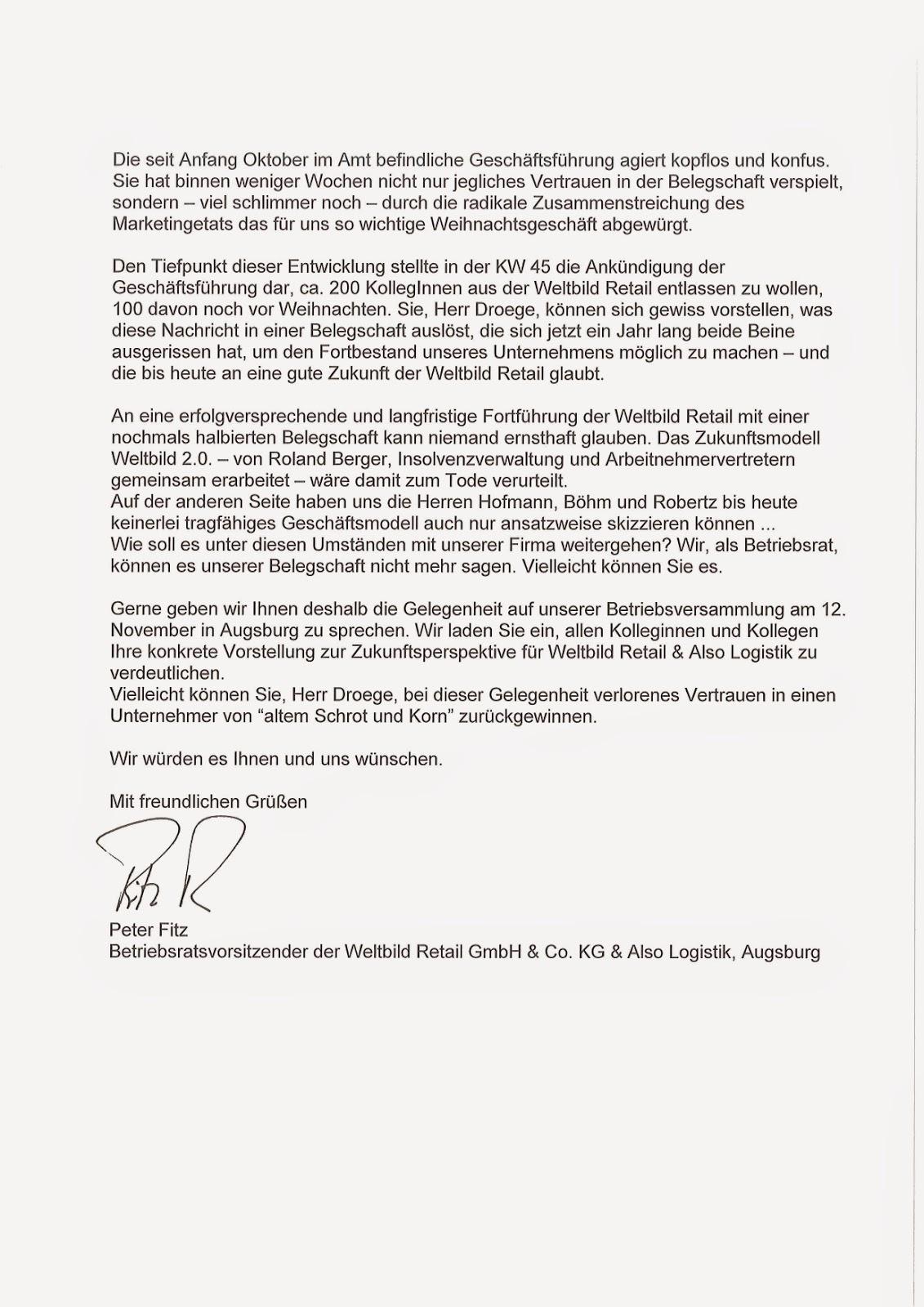 weltbild verdi infoblog: november 2014, Einladung