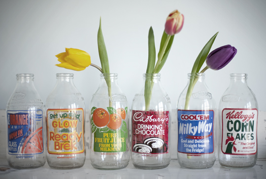 vintage milk bottles wiith tulips