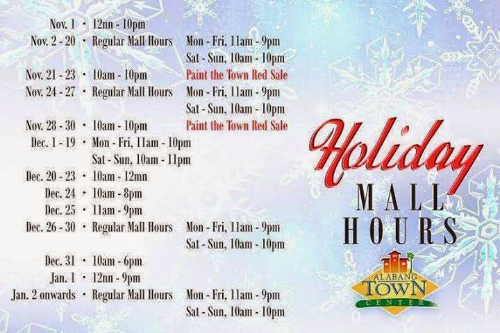 Alabang Town Center Mall Hours Schedule