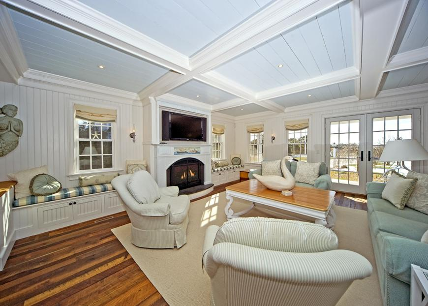 Delorme designs blue beadboard ceilings for Cape cod living room design