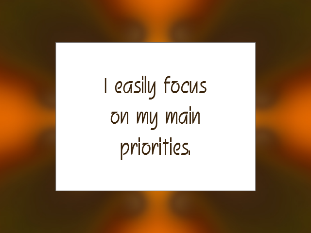 PRIORITIES affirmation