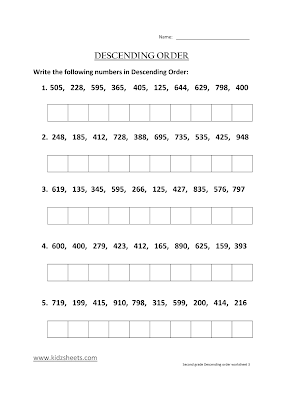 Free Printable Second Grade Worksheets, Free Worksheets, Kids Maths Worksheets, Maths Worksheets, Second Grade Descending Order, Descending Order, Second Grade, Kids Descending Grade