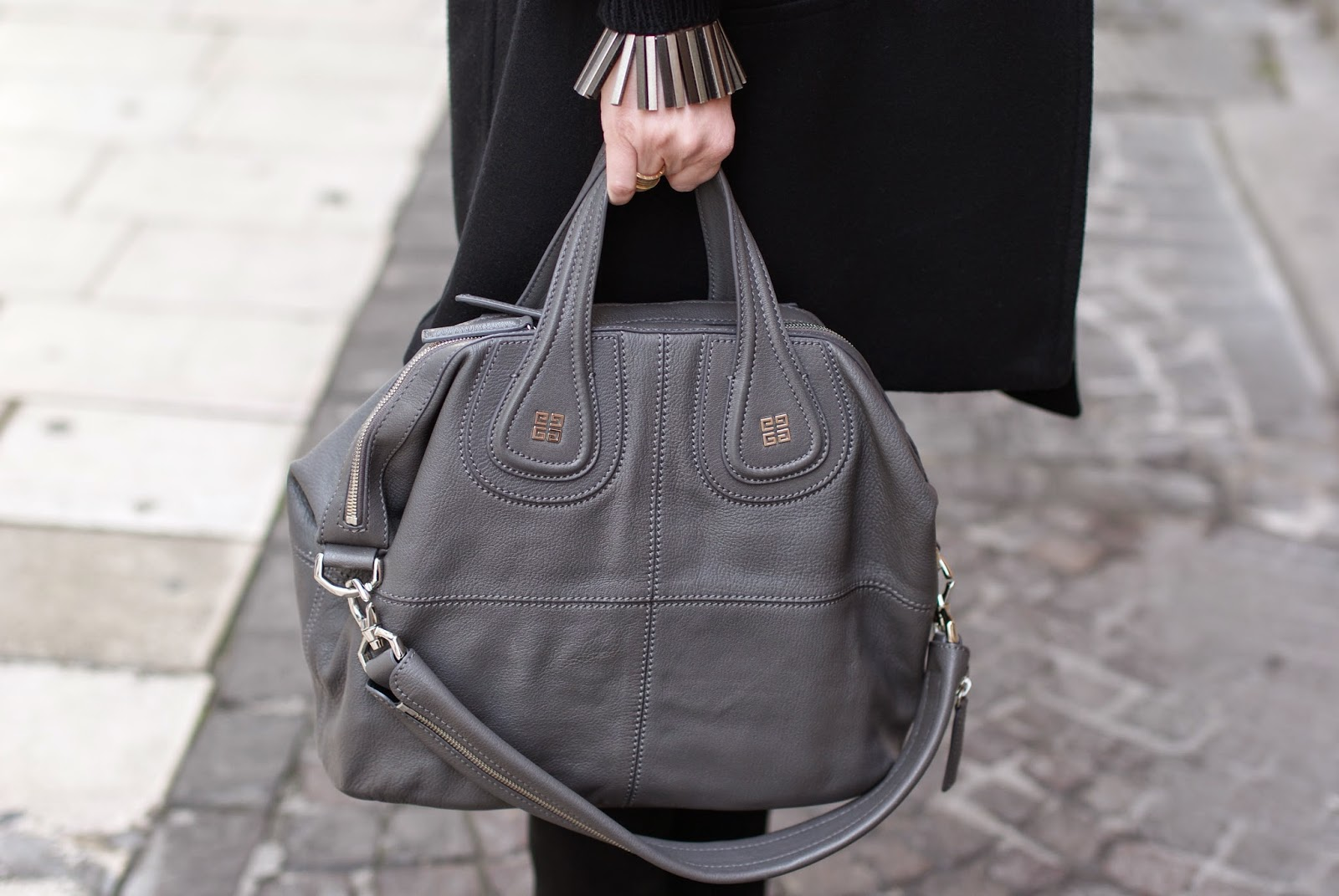 Givenchy Nightingale bag in elephant grey, Vitti Ferria Contin semi rigid bracelet, Fashion and Cookies, fashion blogger