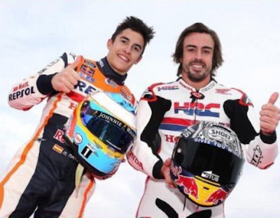 Diam-diam Bintang F1 Ini Jajal Motor MotoGP Ditemani Marquez - Pedrosa
