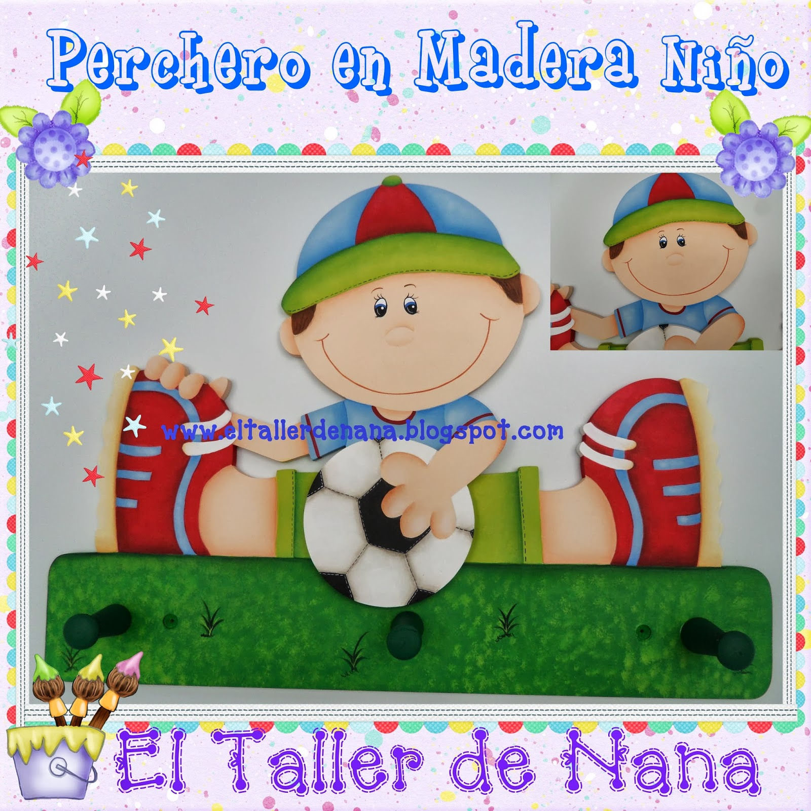El Taller de Nana: Perchero Infantil en Madera para Niño