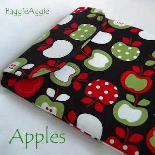 Striking and unusual iPad case in an 'apples' design fabric. Padded and fully lined.