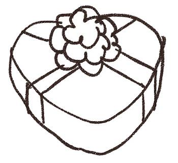 ハート型のプレゼント箱のイラスト(バレンタイン) 線画