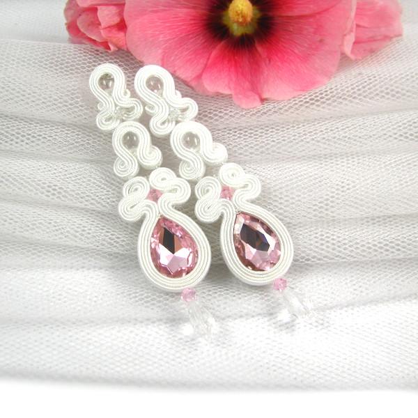 sutasz ślubny kolczyki z różowymi kryształami
