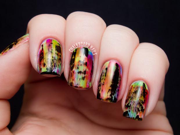 punky neon grunge nail art chalkboard