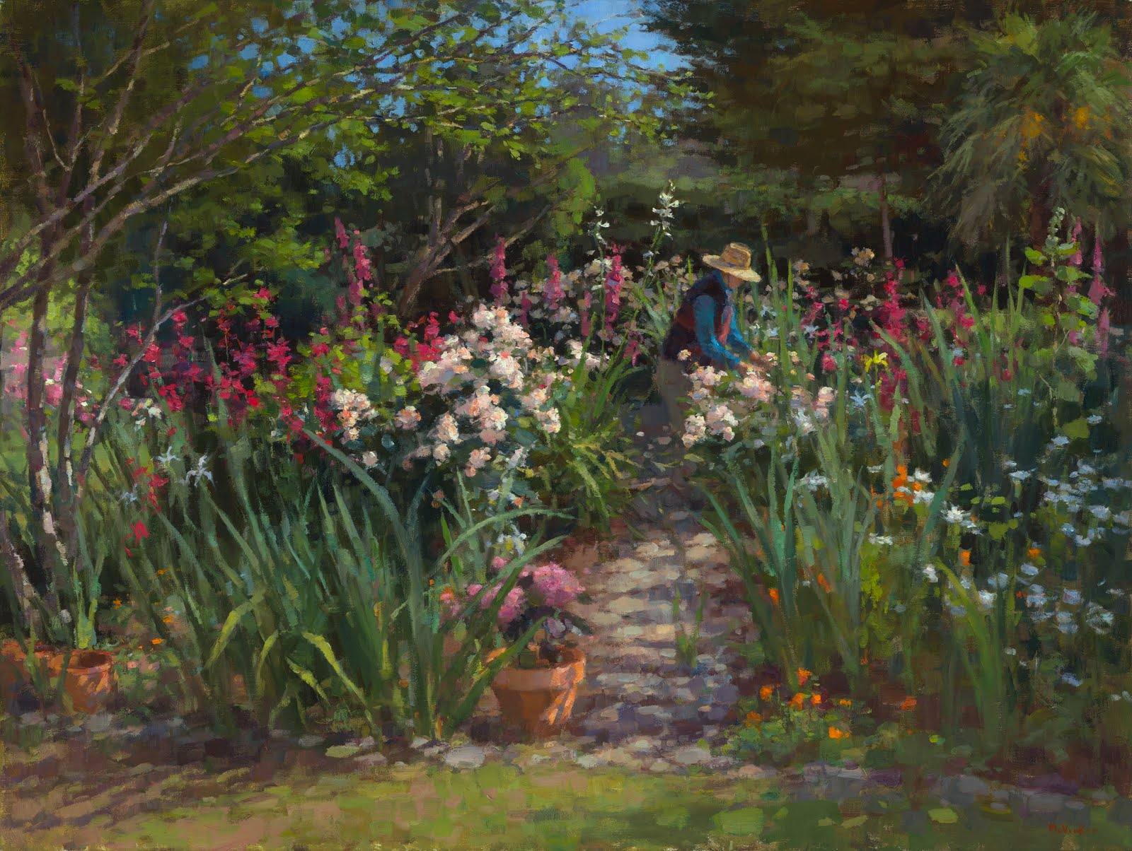Jim mcvicker paintings solo show george stern fine arts for Tending to the garden