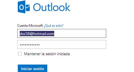 inicio para correo hotmail: