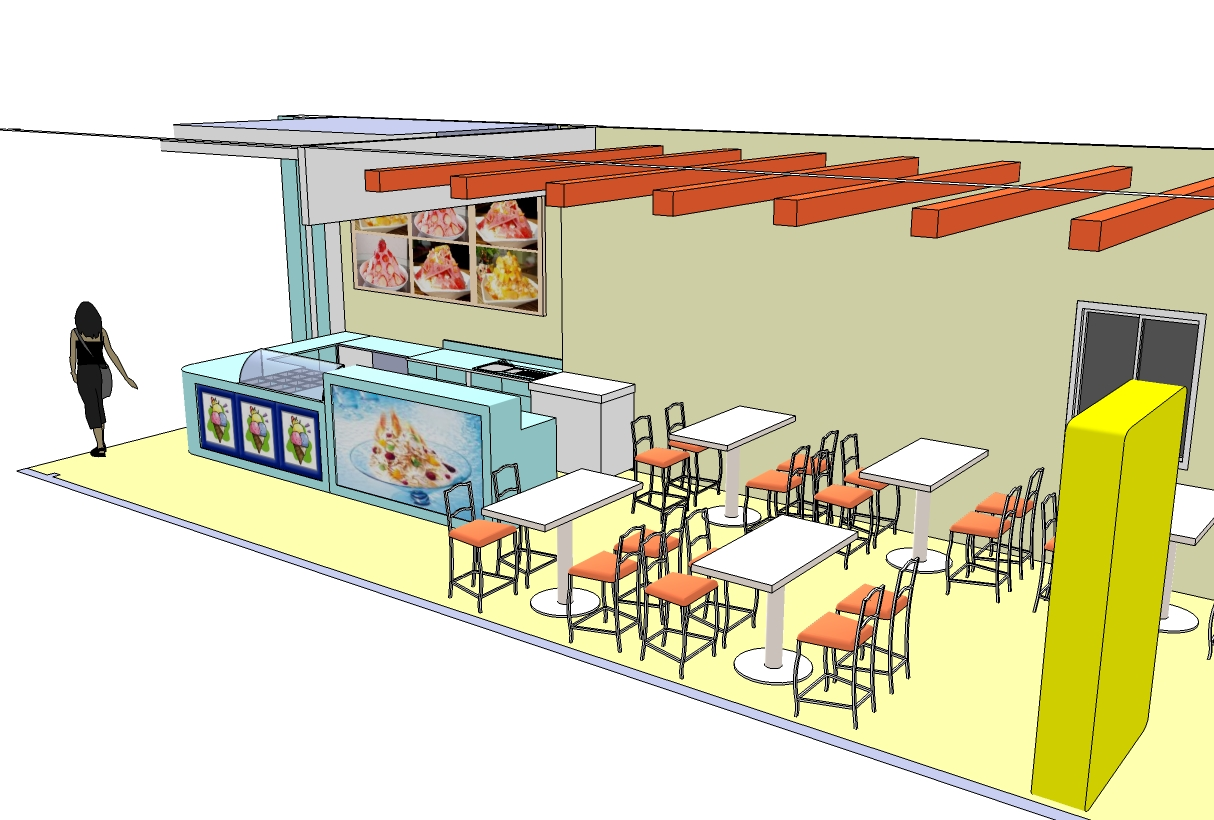 3d image design concept ice cream shop style casual for Store layout design online