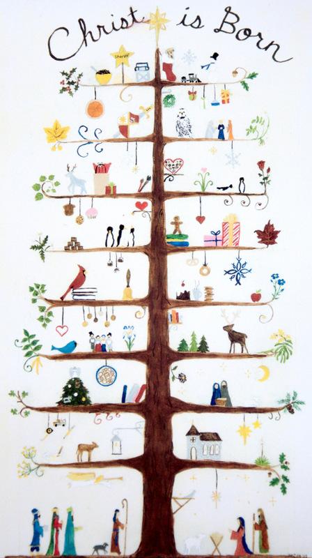 Scandinavian Folk Art Nativity Family Tree Marquette